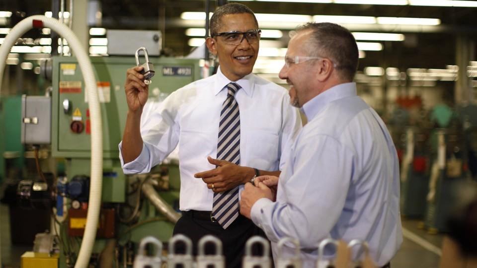 President Barack Obama at a lock-making factory
