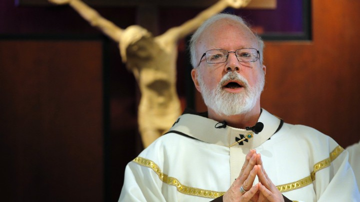 Cardinal Sean O'Malley of Boston celebrates Mass before a crucifix. He is leading the opposition against Question 4, a Massachusetts ballot initiative that would legalize recreational use of weed.