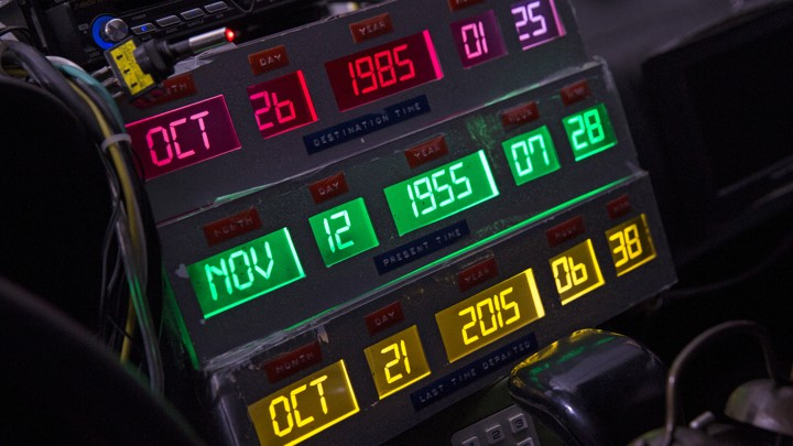 A digital time-travel display inside a DeLorean DMC-12, which appeared on the red carpet at the Back to the Future 30th Anniversary screening in Manhattan, in 2015.