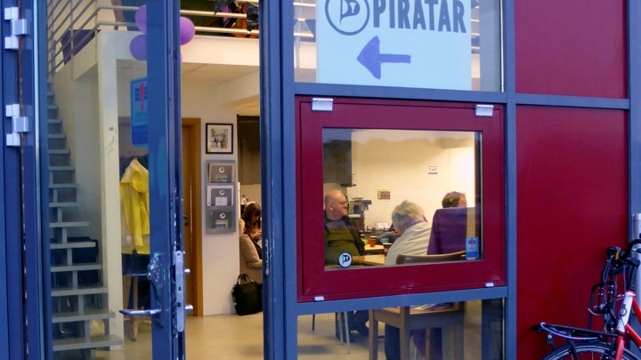 The entrance of the Icelandic Pirate Party headquarters in Reykjavik, Iceland, September 19, 2016