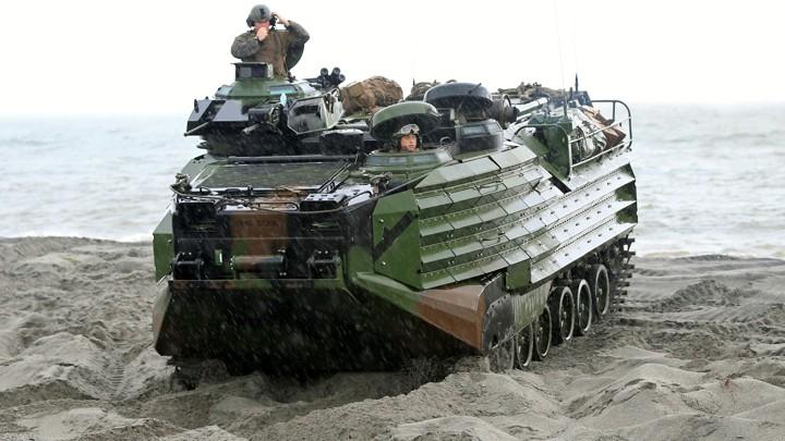U.S. soldiers aboard an Amphibious Assault Vehicles (AAV)