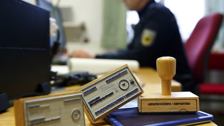 "An illustration picture shows deportation stamps which are used by the German federal police ""Bundespolizei"" to stamp ID documents of rejected asylum seekers, in Rosenheim, southern Germany, January 25, 2016."