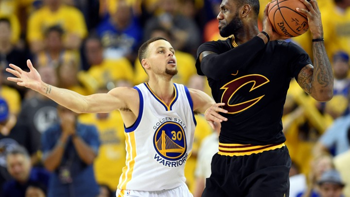446d9aff6 The Cleveland Cavaliers forward LeBron James handles the ball against the Golden  State Warriors guard Stephen Curry during the third quarter in game seven  ...