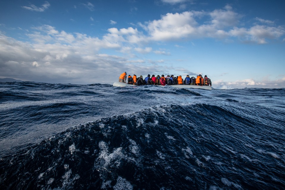A MSF and Greenpeace rescue team responded to a sinking rigid inflatable boat carrying Afghan refugees crossing from Turkey to the north shore of Lesvos, Greece.