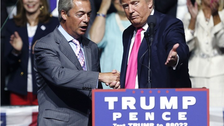 Donald Trump welcomes Nigel Farage to speak at a campaign rally in Jackson, Mississippi, on August 24.