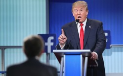 Donald Trump speaks at a Facebook-sponsored primary debate in Cleveland.