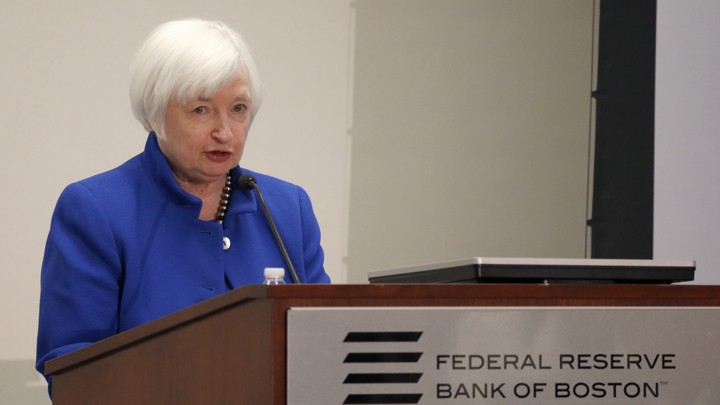 U.S. Federal Reserve Chairwoman Janet Yellen during her speech at the Federal Reserve Bank of Boston on October 14, 2016