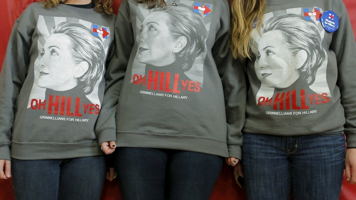 """Three young women wear shirts that say, """"oh HILL yes."""""""