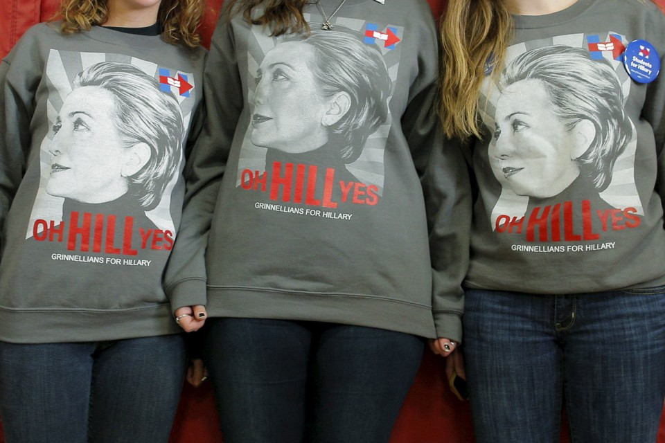 "Three young women wear shirts that say, ""oh HILL yes."""