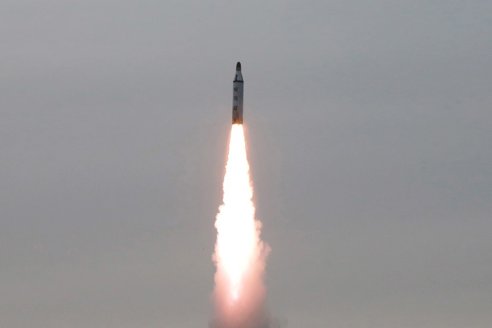 An undated photo of a North Korean missile test released by North Korea's Korean Central News Agency