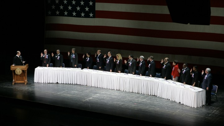New Jersey's presidential electors are sworn in in 2008.