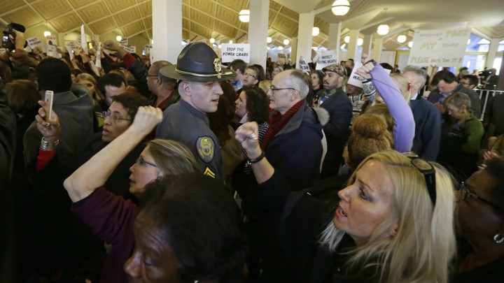 Protestors demonstrate against the North Carolina General Assembly on Thursday.