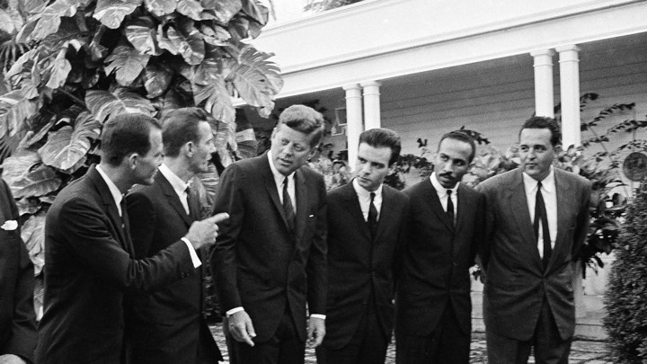 President John F. Kennedy chats with a group of leaders in the Bay of Pigs invasion on Dec. 27, 1962.