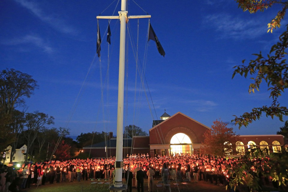 A vigil of hope at Maine Maritime Academy for the missing crew of El Faro on October 6, 2015.