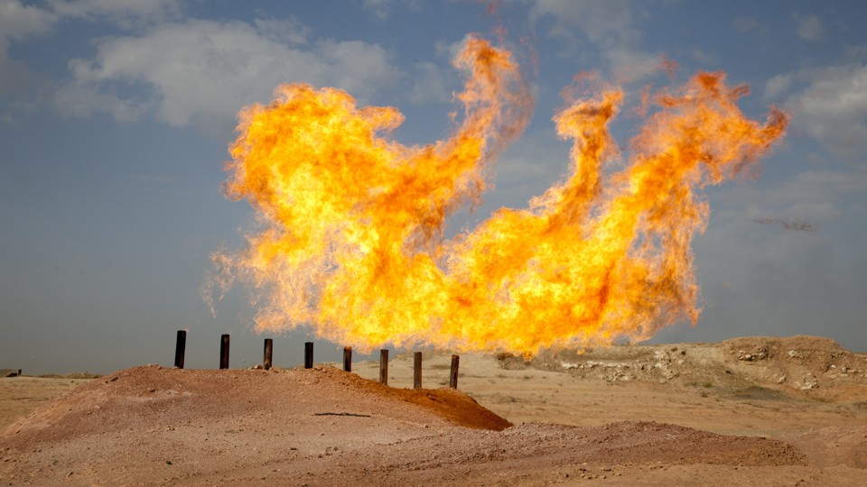 A gas flare in the Penja Ali district of Kirkuk, the oil rich ethnically diverse city in northern Iraq that both the Kurdish Regional Government and Baghdad claim as their own.