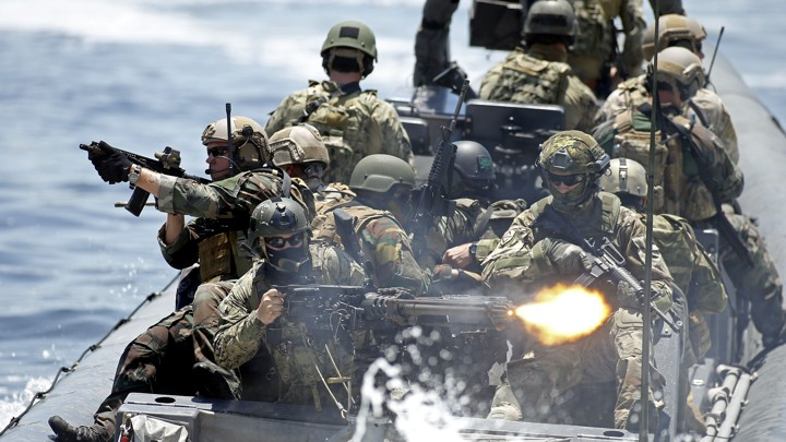 Operators from 17 countries participate in an International Special Operations Exercise at SOFIC, the Special Operations Forces Industry Conference, in Tampa, Florida on May 21, 2014.
