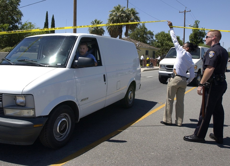 Bakersfield, California, police at a shooting in 2003.