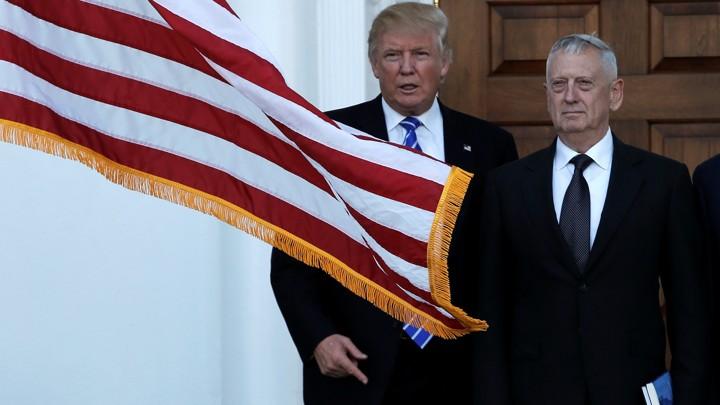 Donald Trump with James Mattis after a November meeting at Trump National Golf Club.