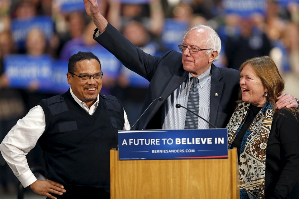 Keith Ellison with Bernie and Jane Sanders at a rally in St. Paul, Minnesota, in January 2016