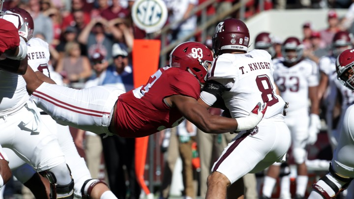 3613fdcd734b The Alabama Crimson Tide defensive lineman Jonathan Allen (93) hits the  Texas A M Aggies quarterback Trevor Knight (8) during the first quarter at  ...