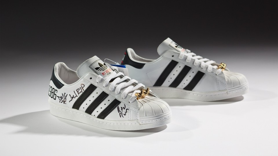 The Adidas x Run–DMC 25th Anniversary Superstar (2011), courtesy of Run–DMC  and from the collection of Erik Blam. The shoes are part of the exhibition  Out ...