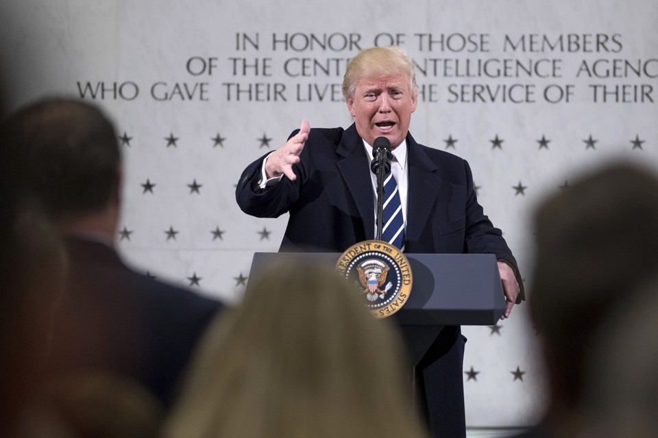 President Donald Trump speaks at the Central Intelligence Agency.