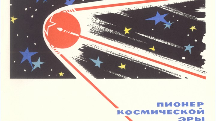 """A stylized poster of Sputnik that reads """"pioneer of the cosmic era."""""""