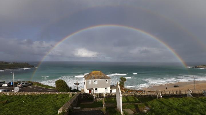 A rainbow over Porthmeor Beach in Cornwall, EnglandAndrew Winning / Reuters