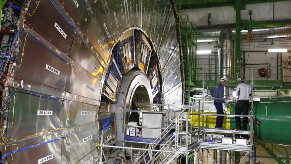 Technicians at work at CERN