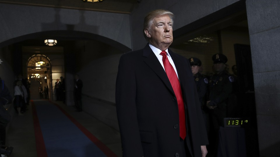 U.S. President-elect Donald Trump arrives on the West Front of the U.S. Capitol on January 20, 2017 in Washington, DC.