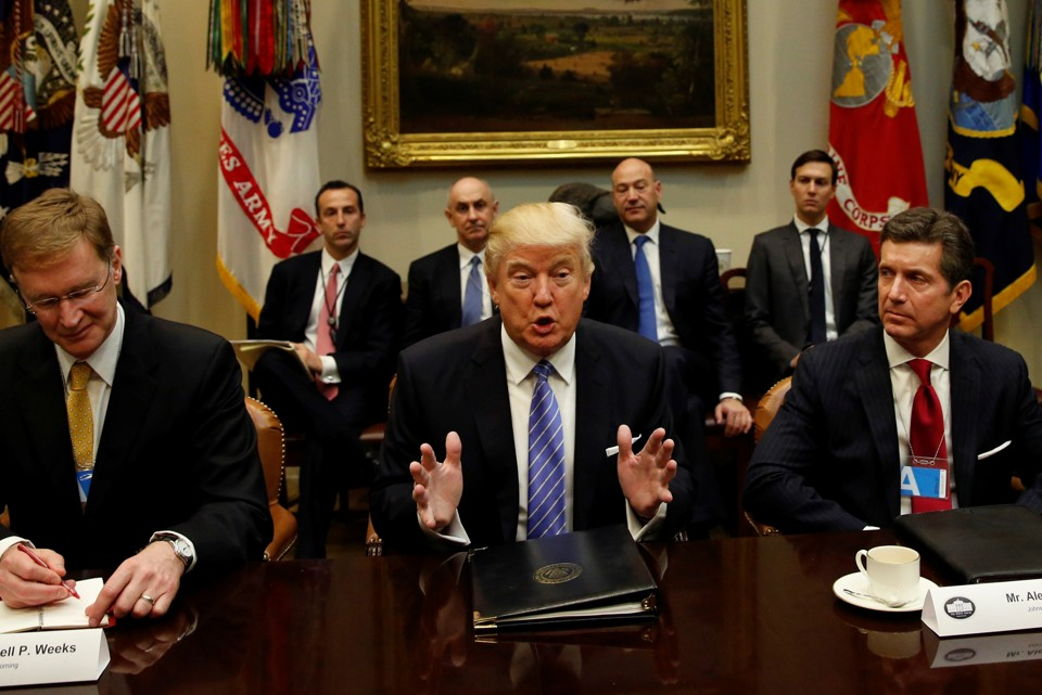 President Trump hosts a meeting with business leaders in the Roosevelt Room of the White House in Washington January 23, 2017.