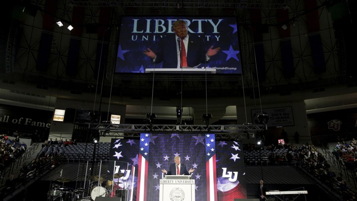 Donald Trump speaks at Liberty University in January 2016.