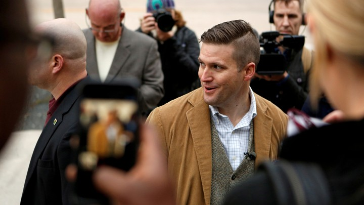 Richard Spencer of the National Policy Institute arrives on campus to speak at an event not sanctioned by the school, at Texas A&M University in College Station on December 6.