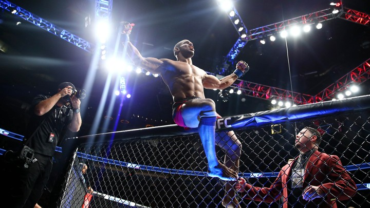Dominican-Canadian UFC fighter Alex Garcia reacts following his knockout victory against Mike Pyle in December 2016