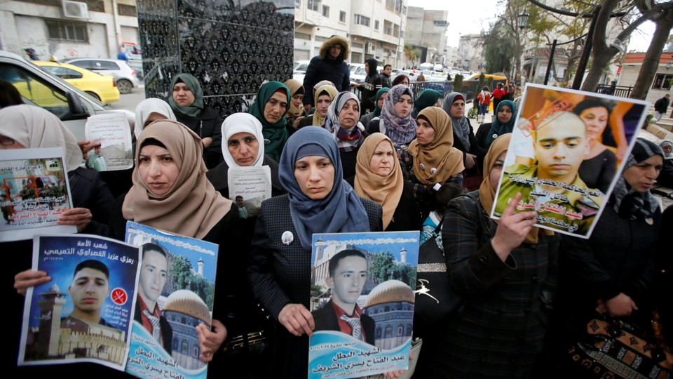 A protest in the West Bank city of Hebron on January 4, 2017