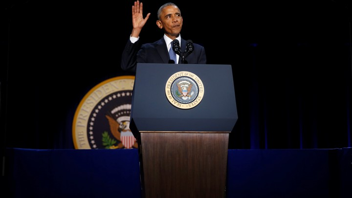 Obama waves at the end of his farewell address in Chicago