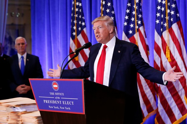 President-elect Donald Trump speaks at a news conference