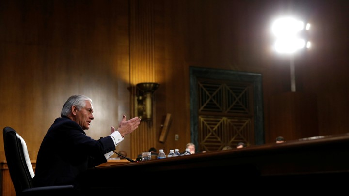 Rex Tillerson testifies during a Senate Foreign Relations Committee confirmation hearing.