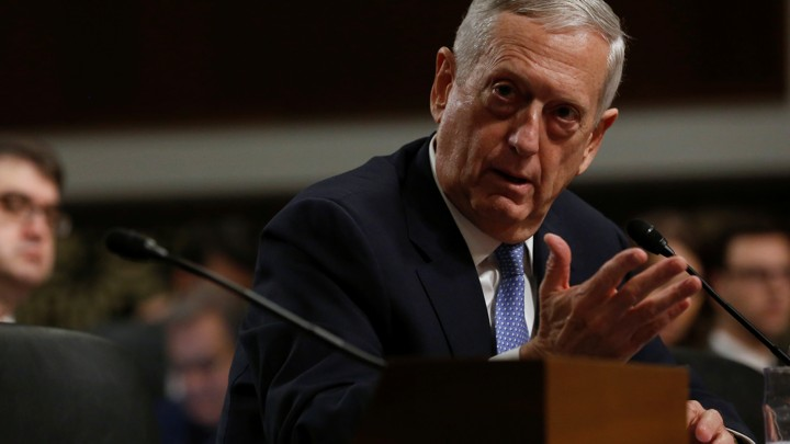 Retired U.S. Marine Corps General James Mattis testifies before a Senate Armed Services Committee.