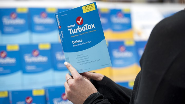 Intuit TurboTax software is arranged on display at a retailer