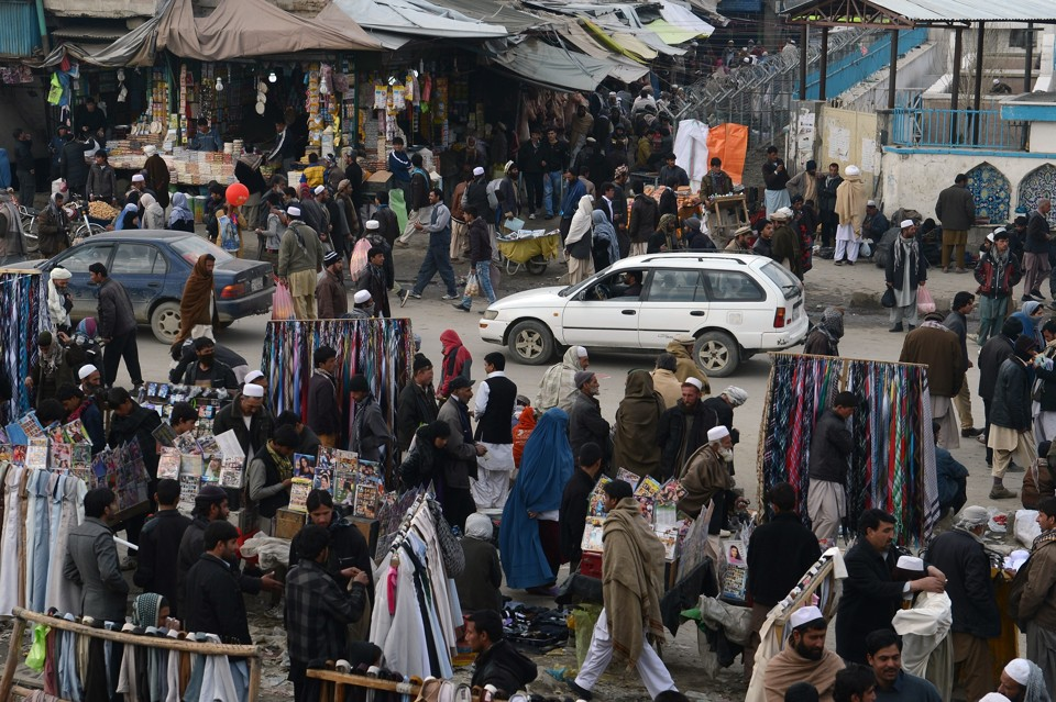 Afghan shoppers in downtown Kabul