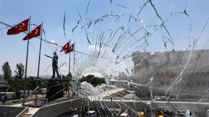 A shattered window at police headquarters in Ankara following a failed July 2016 coup attempt