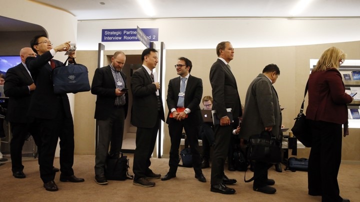 The World Economic Forum (WEF) in Davos, Switzerland, where only 20 percent of attendees were women.
