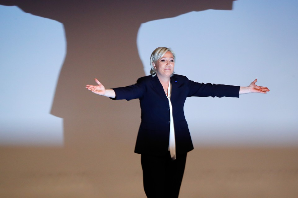 France's National Front leader Marine Le Pen gestures after a recent speech.