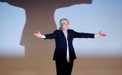 France's National Front leader Marine Le Pen gestures after a recent speech.