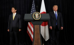 U.S. President Donald Trump and Japanese Prime Minister Shinzo Abe after delivering remarks on North Korea on February 11, 2017