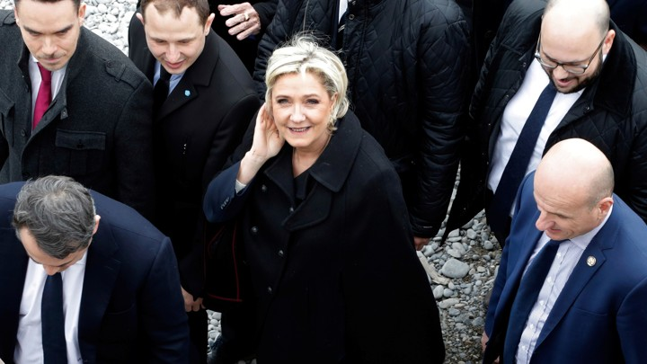 Marine Le Pen, the National Front presidential candidate, walks on the beach in Nice, France, onFebruary 13, 2017.