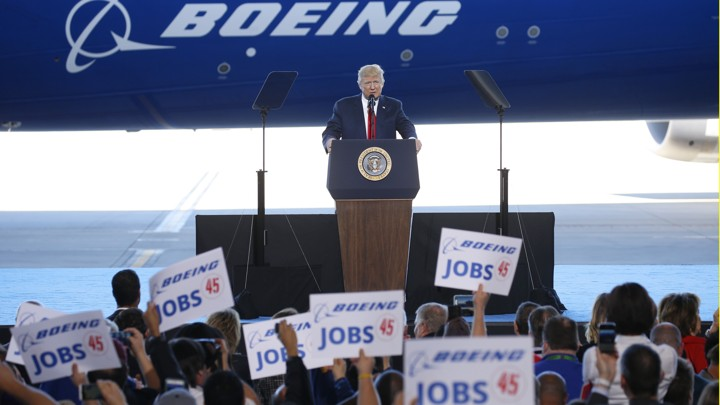 U.S. President Donald Trump speaks at the debut of the Boeing South Carolina Boeing 787-10 Dreamliner in North Charleston, South Carolina, U.S., February 17, 2017.