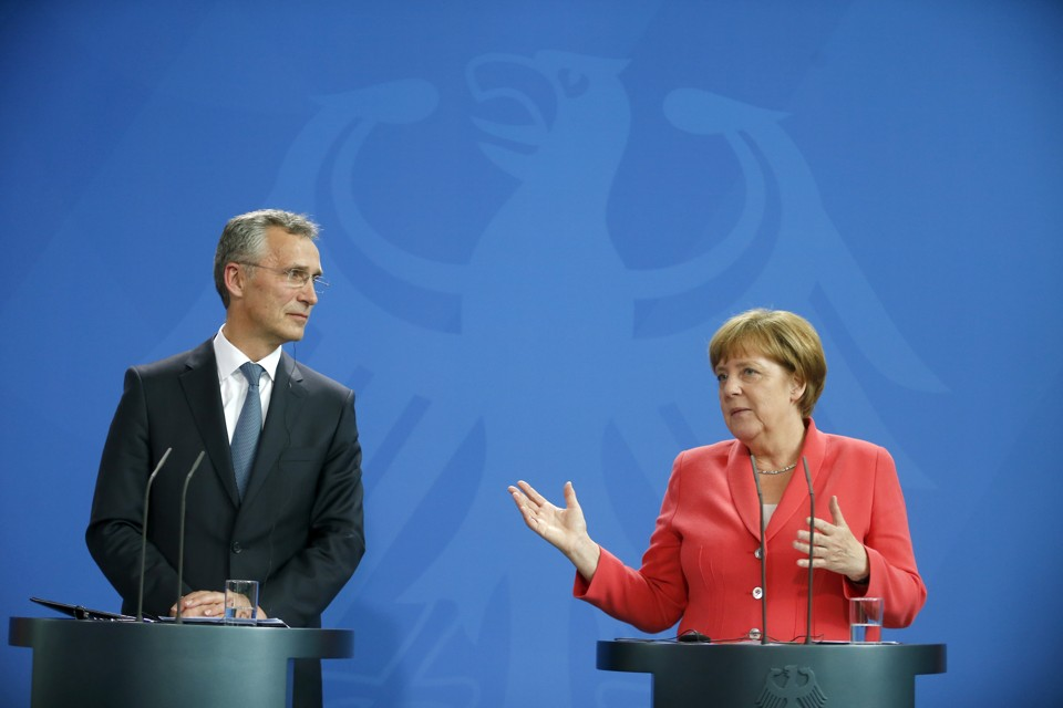 German Chancellor Angela Merkel and NATO Secretary-General Jens Stoltenberg