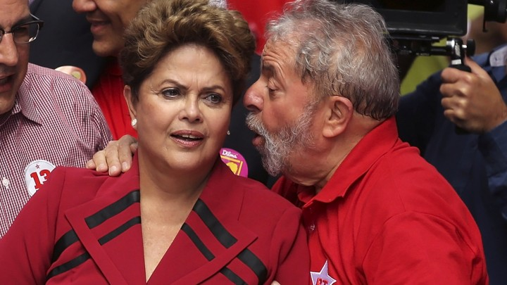Luiz Inacio Lula da Silva talks to former president of Brazil, Dilma Rousseff.